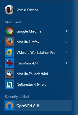 openvpn en menu inicio windows