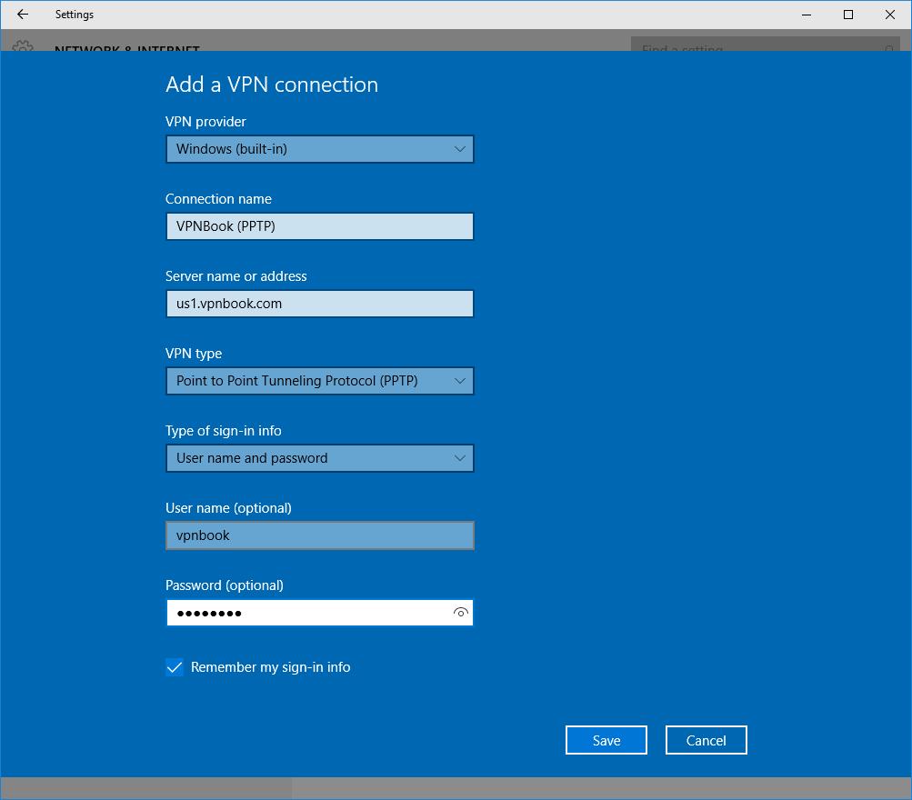 rellena todos los datos VPNBook en Windows
