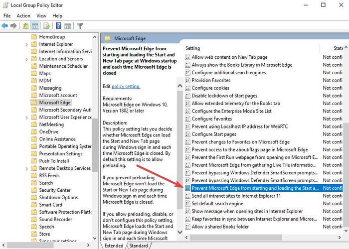 Desactivar Microsoft Edge 9