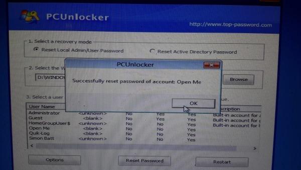 el proceso de desbloqueo con PCUnlocker