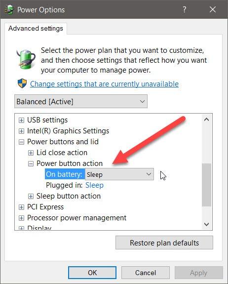 Cómo configurar el botón de encendido para que apague la pantalla en Windows 10
