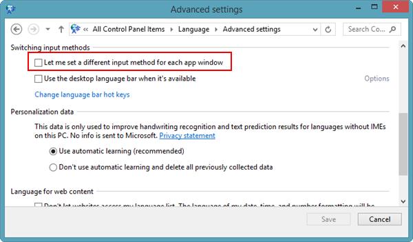Cómo configurar los idiomas individuales de las aplicaciones en Windows 8