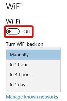 Cómo desactivar temporalmente WiFi en Windows 10