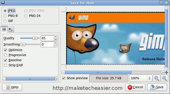 Cómo habilitar la función Guardar para Web de Photoshop en GIMP