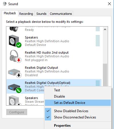 Cómo usar el puerto óptico (S/PDIF) en Windows 10