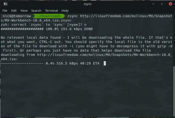 Cómo usar Zsync para transferir parte de un archivo en Linux