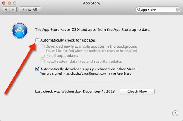 Desactivar las actualizaciones automáticas de aplicaciones en los Mavericks de OS X
