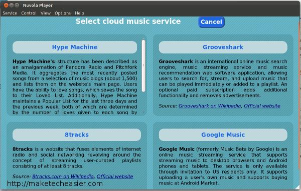 Escuchar música en la nube con el reproductor de Nuvola[Ubuntu]
