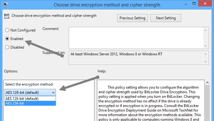 Establecer el Cifrado de BitLocker en AES de 256 bits en Windows 8