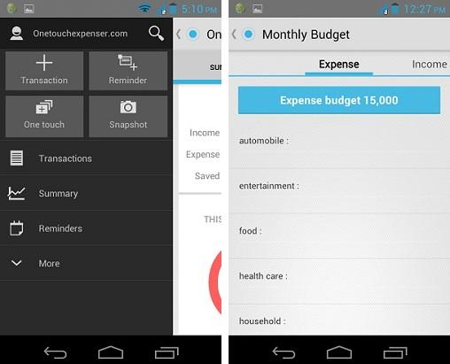 Gastos de One Touch: Una simple aplicación Android para realizar un seguimiento de sus gastos