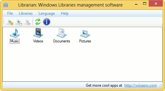 Gestione sus bibliotecas de Windows con WinAero Librarian