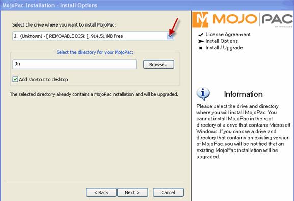 Mojopack le permite llevar su Windows XP en una unidad USB