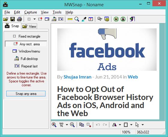 MWSnap - una herramienta gratuita de captura de pantalla y editor para Windows