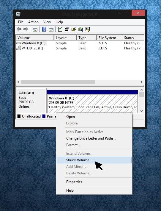 Partición del disco duro en Windows 8