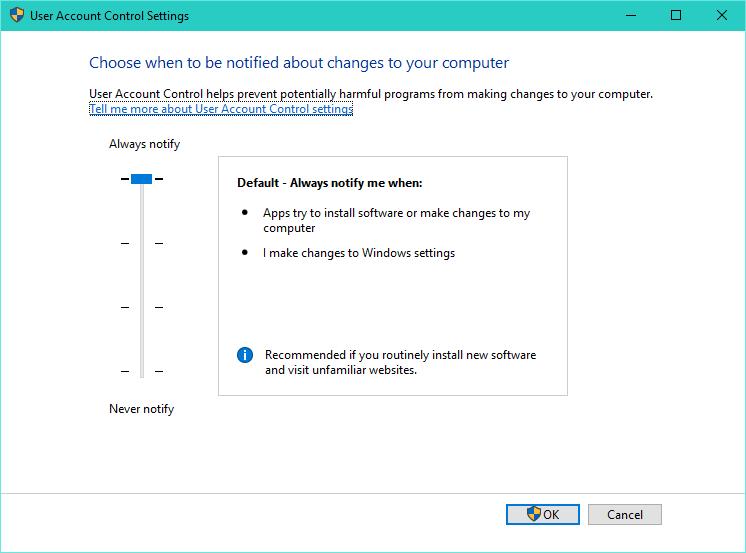 Por qué no se debe deshabilitar la función de control de acceso del usuario en Windows