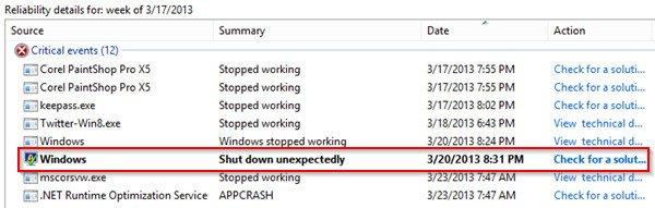 Solucionar los problemas de su PC con el Reliability Monitor en Windows 8