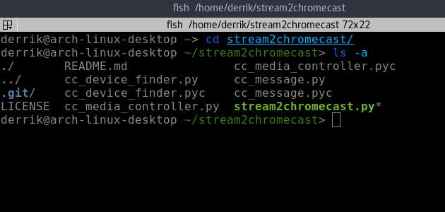 Transmisión por secuencias de medios locales desde la línea de comandos a ChromeCast con Stream2chromecast