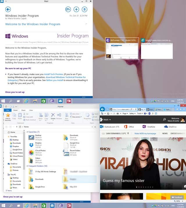 Windows 10: Características principales de la vista previa técnica