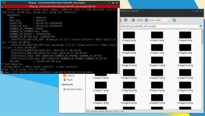 Cómo descompilar un archivo de vídeo en imágenes con FFMPEG en Linux