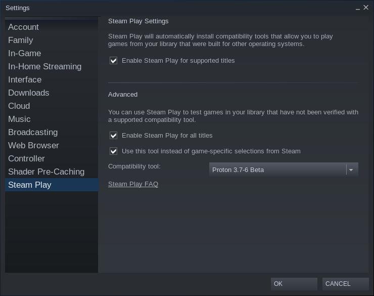 Configurar las opciones de Steam Play