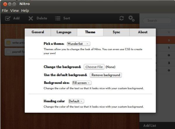Nitro: Una hermosa aplicación de gestión de tareas para Linux