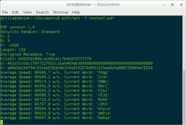 Recuperar contraseñas PDF perdidas con pdfcrack (Linux)