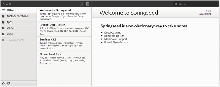 SpringSeed: Una alternativa Linux sorprendentemente ligera a Evernote
