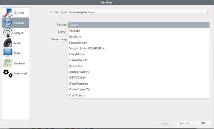 Transmisión de secuencias de vídeo en Linux con una emisora abierta