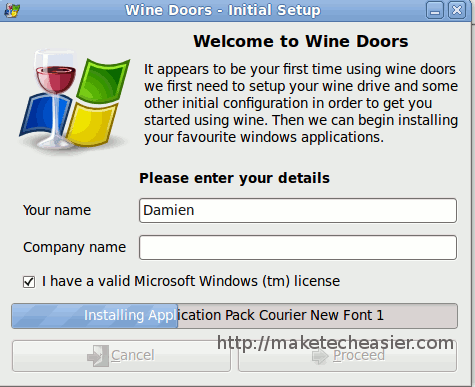Instalar facil WineDoors