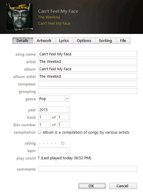 Ajuste del número de reproducciones en iTunes[Windows]