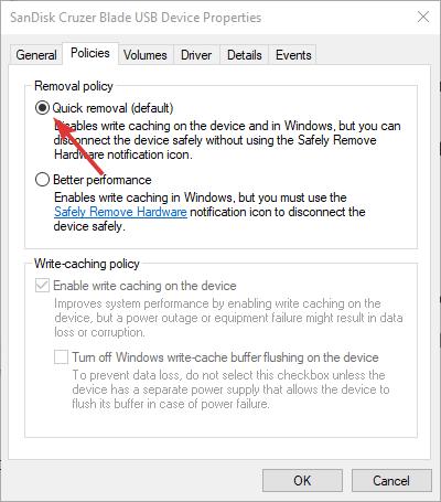 Cómo habilitar o deshabilitar el almacenamiento en caché de discos en Windows 10